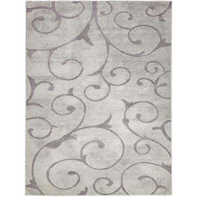 Floral Shag Gray 9 ft. x 12 ft. Area Rug