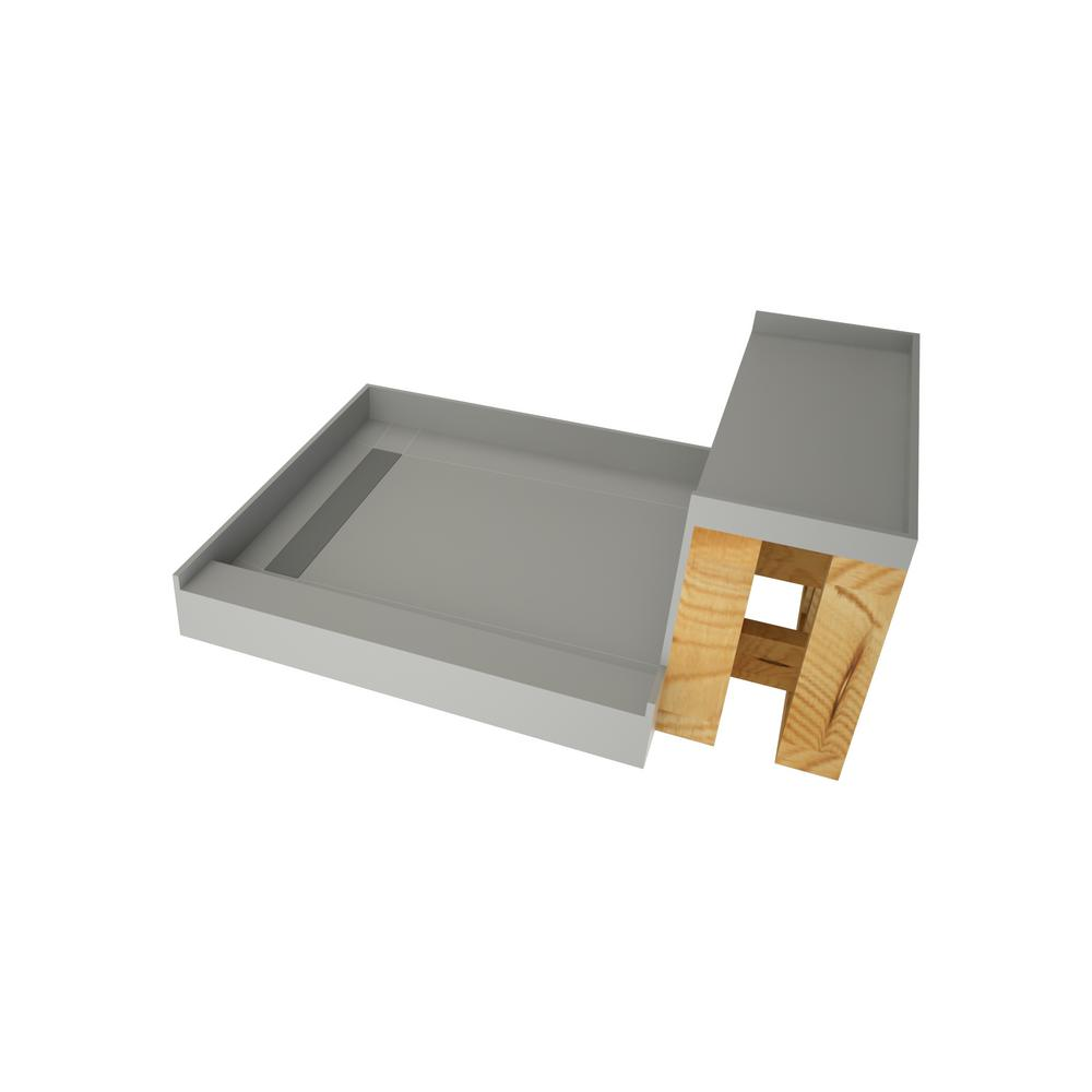 Tile Redi Base N Bench 48 In X 60 Single Threshold Shower And Kit With Left Drain Tileable Trench Grate