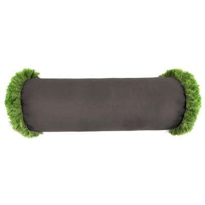 Sunbrella 7 in. x 20 in. Canvas Coal Bolster Outdoor Pillow with Gingko Fringe