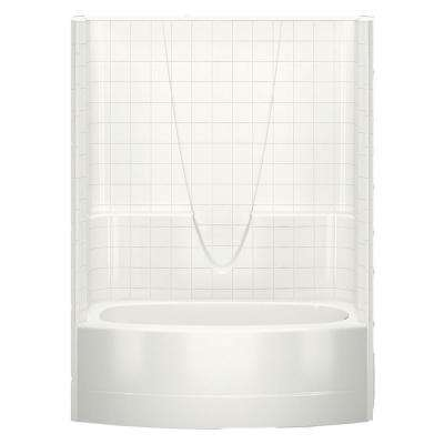 Everyday Smooth Tile 60 in. x 36.3 in. x 77.3 in. 1-Piece Curved Bath and Shower Kit with Right Drain in Biscuit