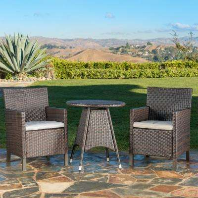 Cypress Multi-Brown 3-Piece Wicker Outdoor Dining Set with Light Brown Cushions