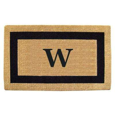 Single Picture Frame Black 22 in. x 36 in. HeavyDuty Coir Monogrammed W Door Mat