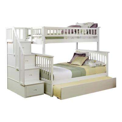 Columbia Staircase White Twin Over Full Bunk Bed with Twin Urban Trundle Bed