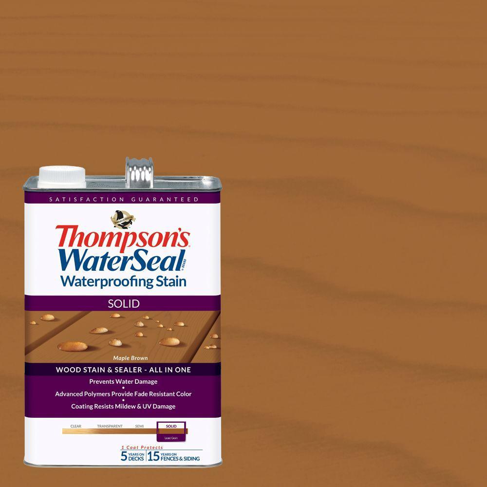 1 gal. Solid Maple Brown Waterproofing Stain Exterior Wood (4-Pack)