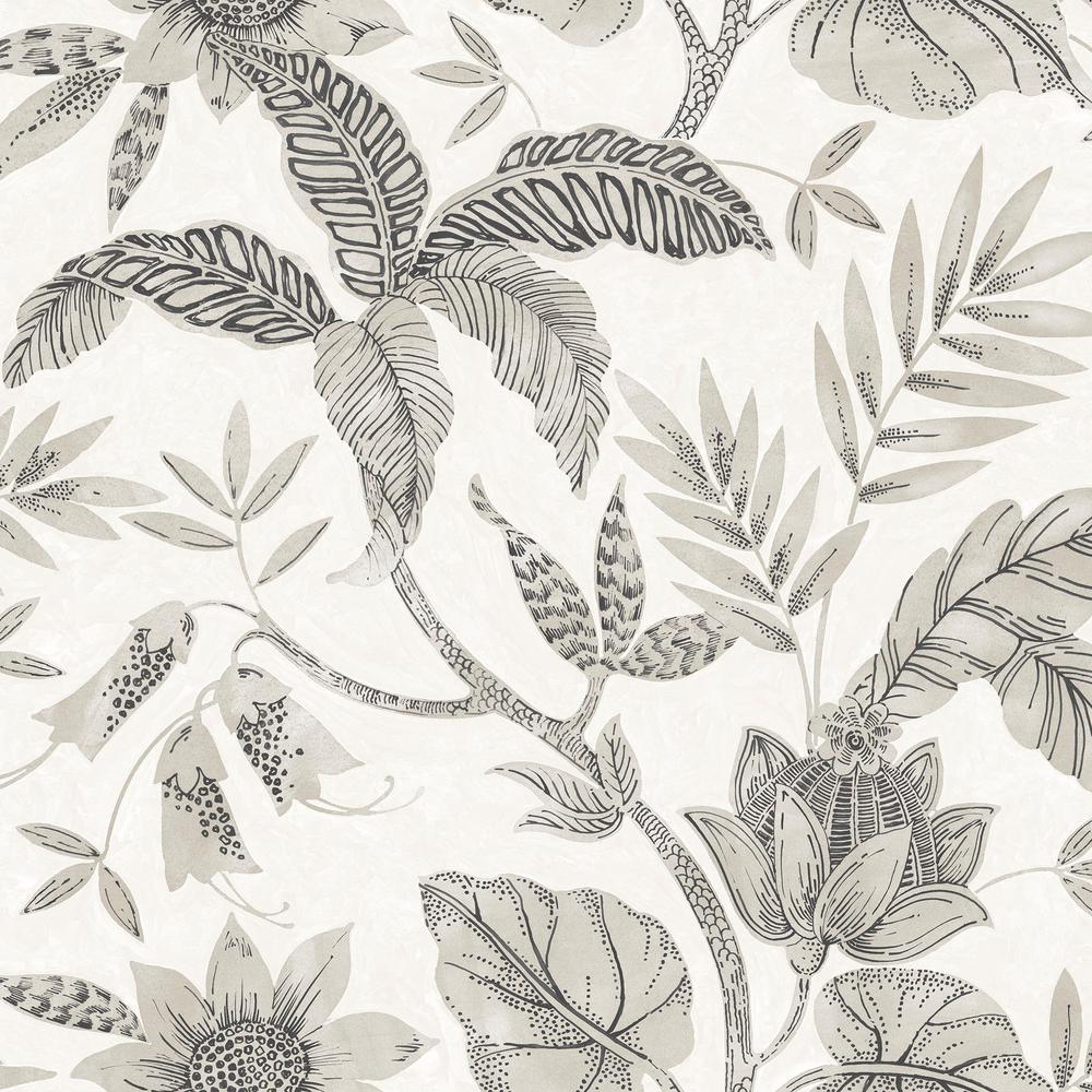 Rainforest Leaves Ivory and Stone Botanical Wallpaper
