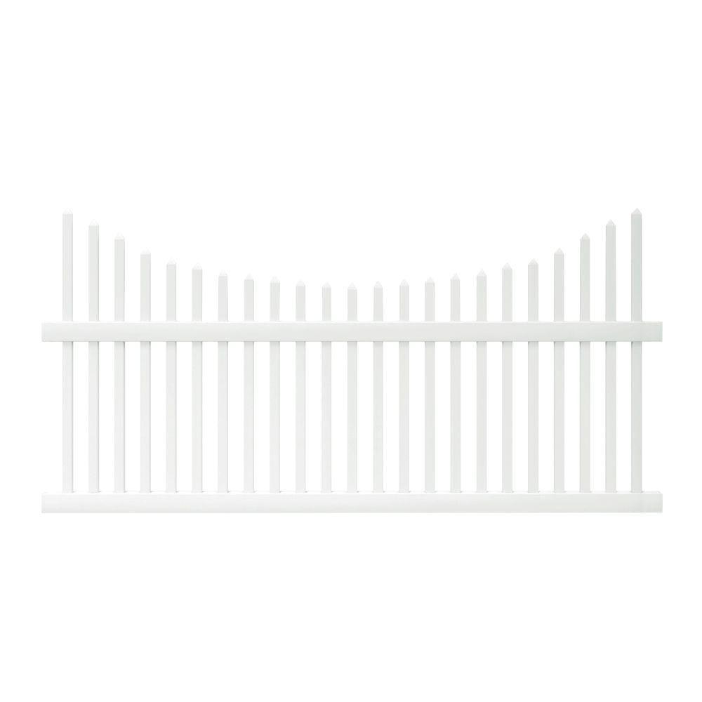 Pro-Series 3.5 ft. H x 8 ft. W White Vinyl Alexandria Scalloped Spaced Picket Fence Panel