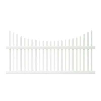 Pro-Series 3.5 ft. H x 8 ft. W White Vinyl Alexandria Scalloped Spaced Picket Fence Panel