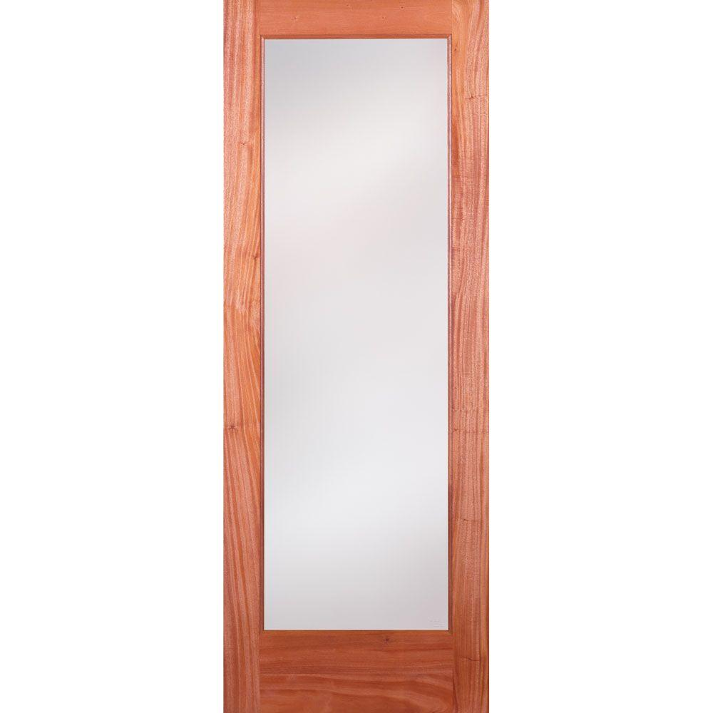 Feather River Doors 28 in. x 80 in. Privacy Woodgrain 1 Lite Unfinished Mahogany Interior Door Slab