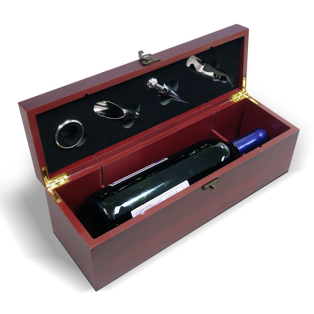 Epicureanist Cherry Wood Single Wine Bottle Gift Set