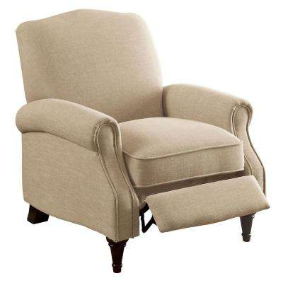 Rhianon Beige Linen-Like Push Back Recliner