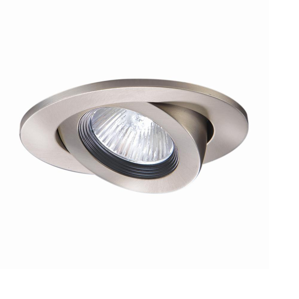 Halo 3 In Satin Nickel Recessed Ceiling Light Trim With Adjule Gimbal
