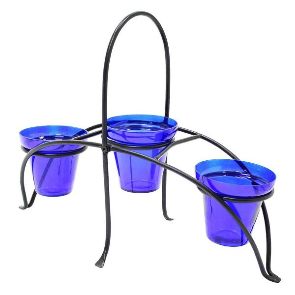 16.75 in. Tall Graphite Powder Coat Iron Small Herb Caddy Plant Stand for Kitchen or Garden