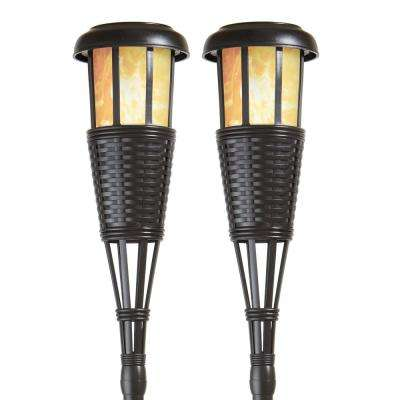 Dark Chocolate Solar Island Torches with Flickering Flame Effect (2-Pack)
