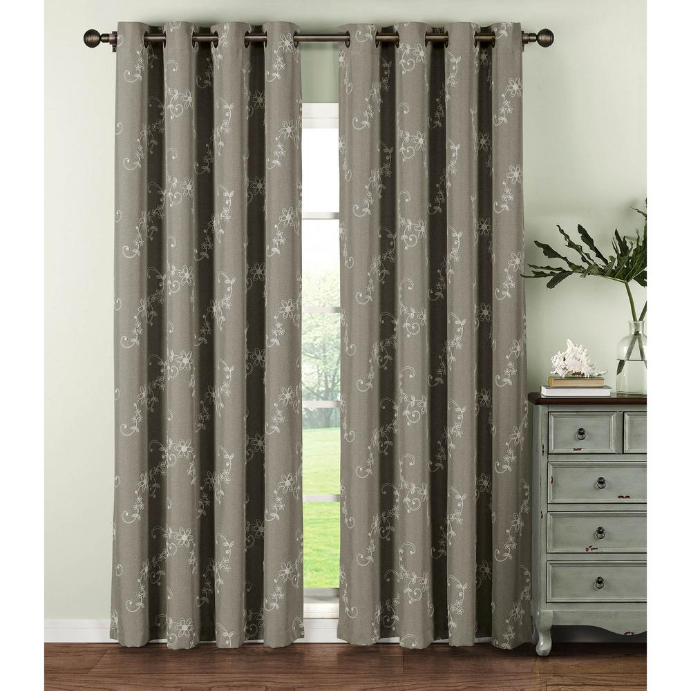 Window Elements Semi Opaque Ashley Embroidered Faux Linen Extra Wide 84 In L Grommet Curtain