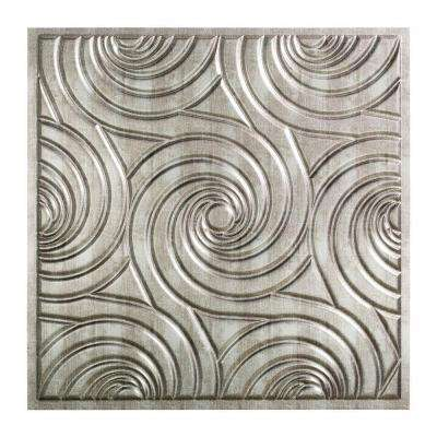 Typhoon - 2 ft. x 2 ft. Lay-in Ceiling Tile in Crosshatch Silver