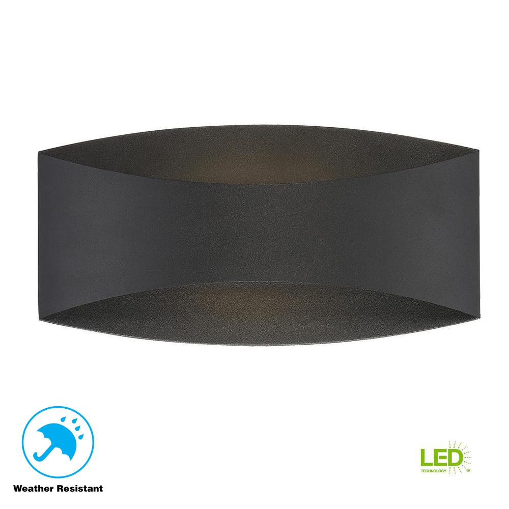 Home Decorators Collection Greeleyville 2-Light Sand Black Outdoor Integrated LED Wall Lantern Sconce with Etched Glass