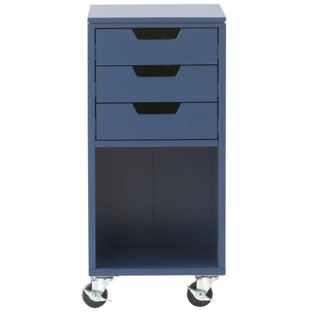 Home Decorators Collection Avery 13 in. W 3-Drawer MDF Single Bin Mobile Cart in Sapphire