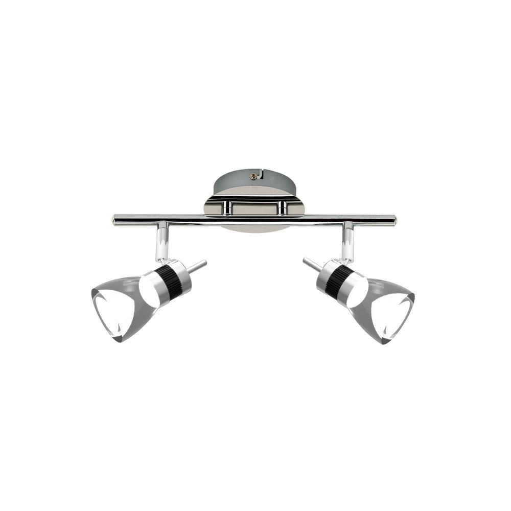 LED 11.8 in. 2-Light Brushed Chrome Integrated LED Track Lighting Kit