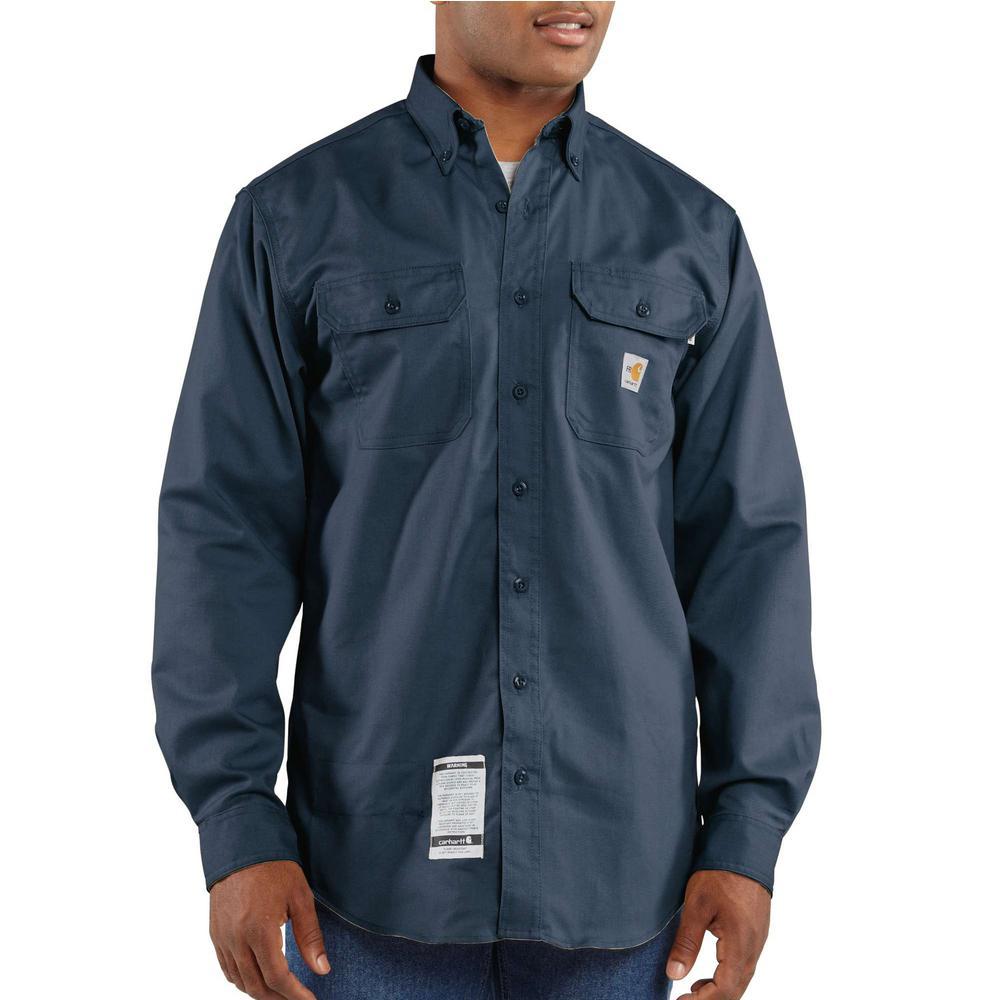 Men's Tall 4X-Large Dark Navy FR Classic Twill Long Sleeve Shirt