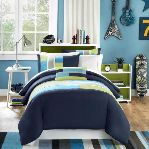 Mi Zone Switch 3-Piece Navy Twin/Twin XL Pieced Duvet Cover Set