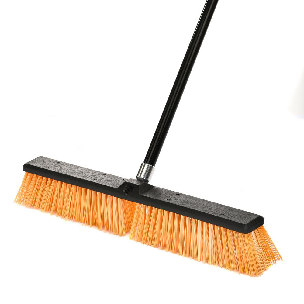 Alpine Industries 24 in. Yellow Indoor Outdoor Rough Surface Push Broom