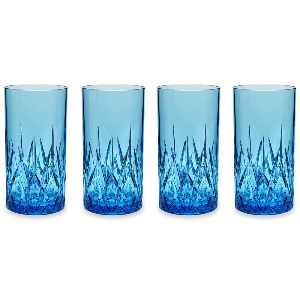 Aurora 23 oz. Blue Highball Tumbler (Set of 4)