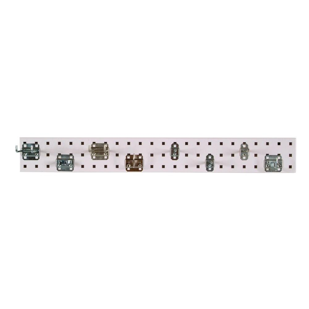 3/8 in. White Pegboard Wall Organizer Strip with 8-Piece Assortment