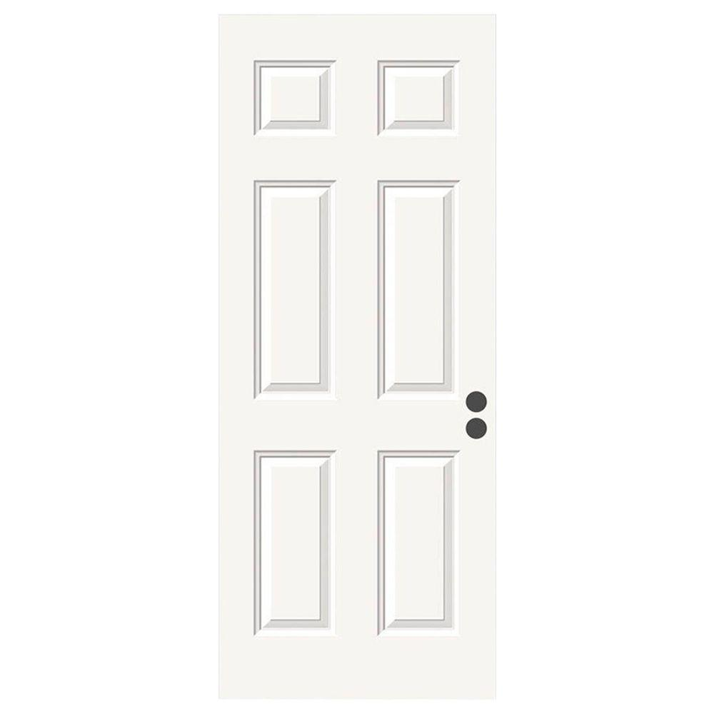 36 in x 80 in 6 panel primed premium steel front door for Steel front entry doors