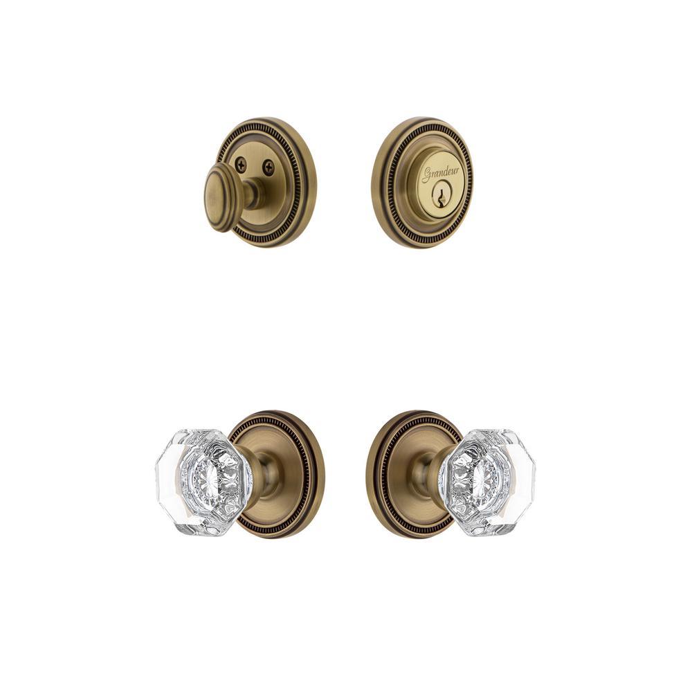 Soleil Plate 2-3/4 in. Backset Vintage Brass Chambord Crystal Door Knob with Single Cylinder Deadbolt