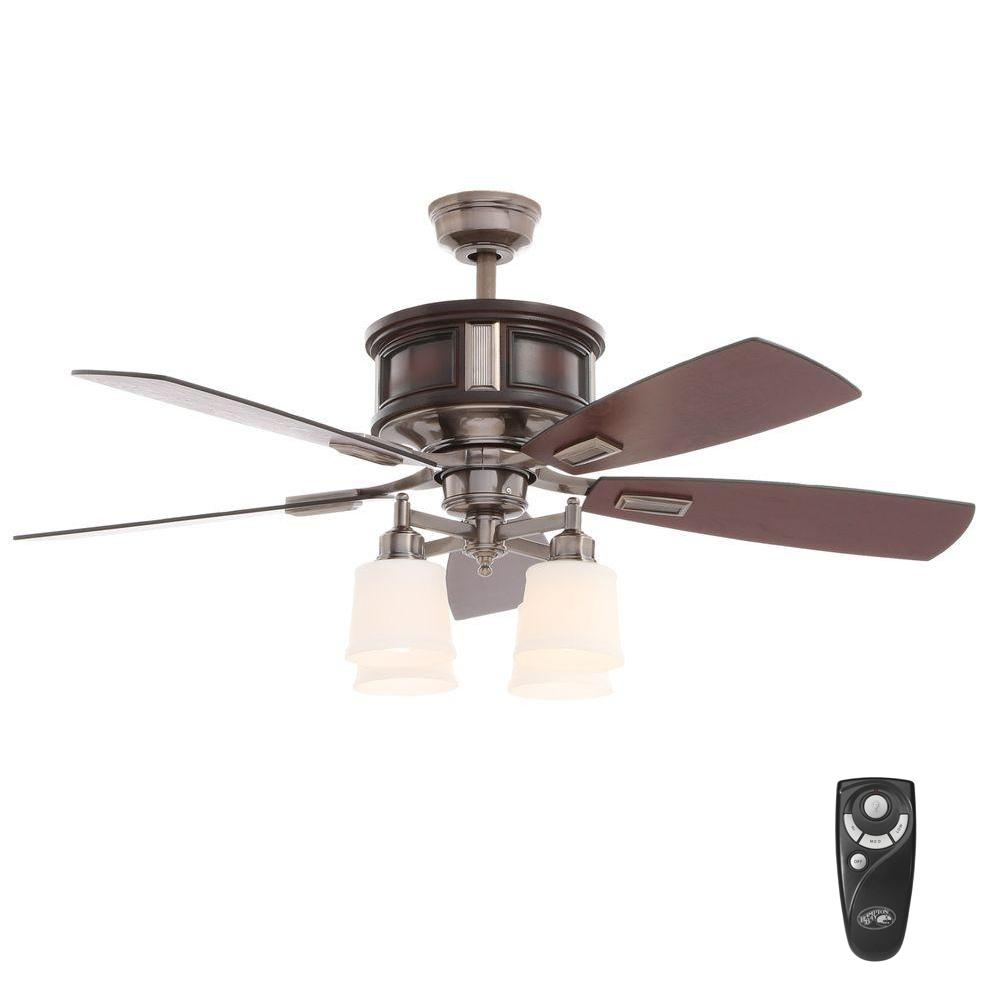 Hampton Bay Garrison 52 in. Indoor Gunmetal Ceiling Fan with Light Kit and  Remote Control