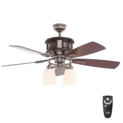 Garrison 52 in. Indoor Gunmetal Ceiling Fan with Light Kit and Remote Control