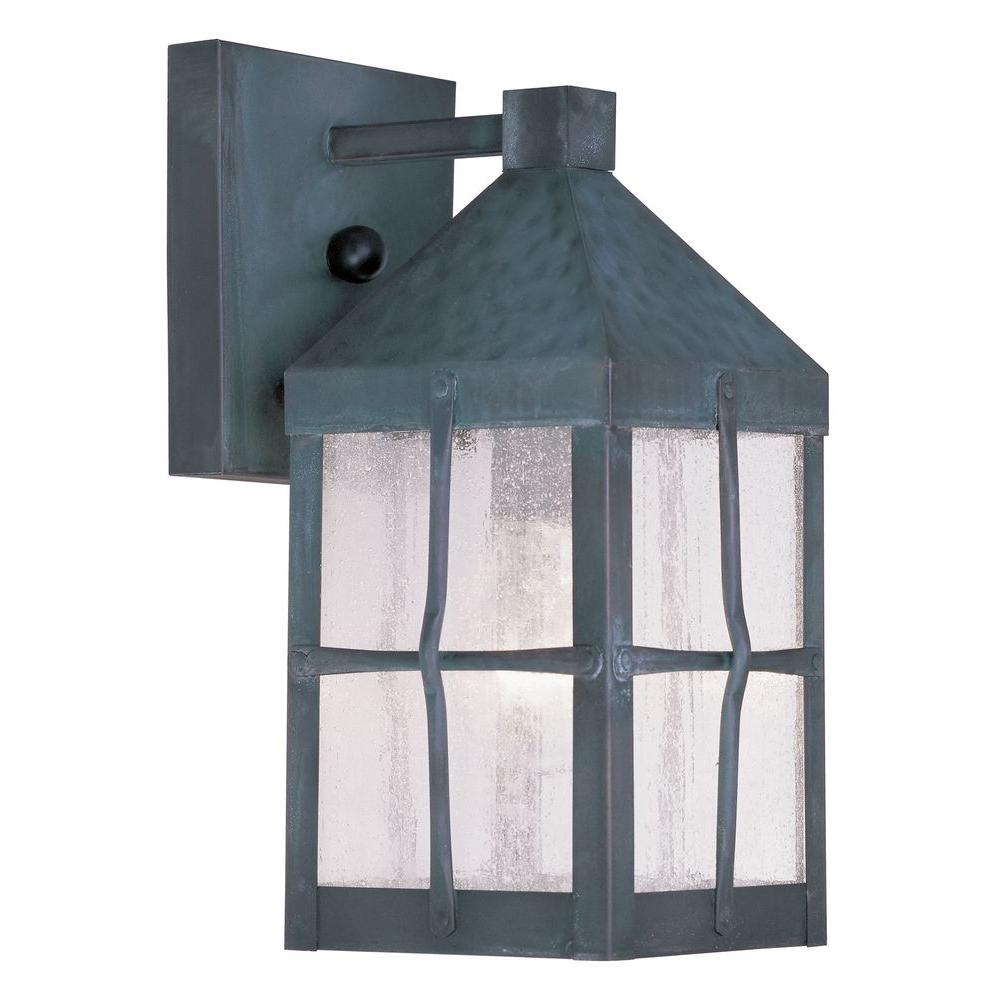 Livex Lighting Providence Wall-Mount 1-Light Hammered Charcoal Outdoor Incandescent Lantern