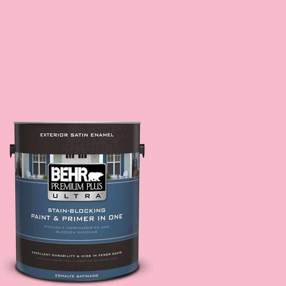 BEHR Premium Plus Ultra 1-gal. #120C-2 Pink Punch Satin Enamel Exterior Paint