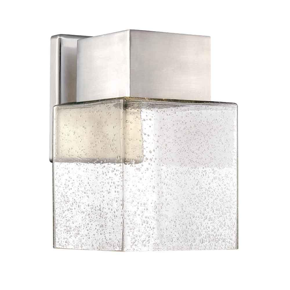 Home Decorators Collection Essex Brushed Nickel Outdoor LED Powered Wall Lantern  sc 1 st  Home Depot : modern outdoor led lighting - www.canuckmediamonitor.org