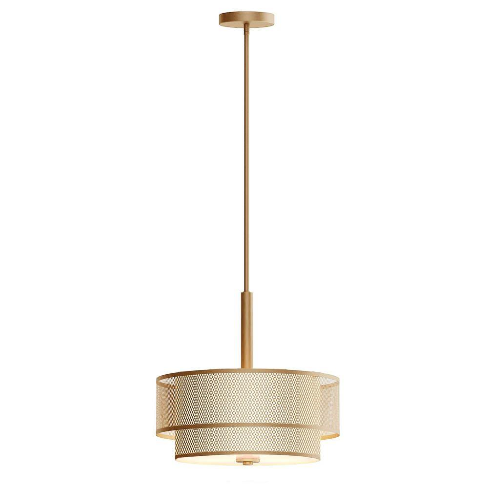 info for b3a3d 1ae94 Home Decorators Collection 3-Light Modern Matte Gold Pendant with Fabric  Shade
