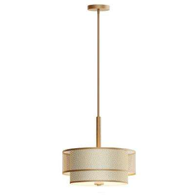 3 Light Modern Matte Gold Pendant With Fabric Shade
