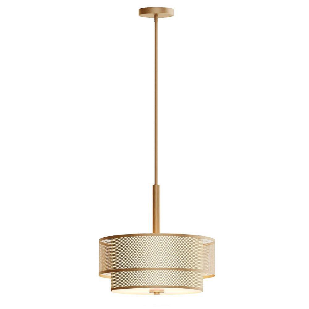 3-Light Modern Matte Gold Pendant with Fabric Shade