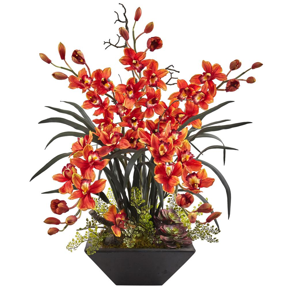 Nearly Natural Cymbidium Orchid With Black Vase 1404 Bg The Home Depot
