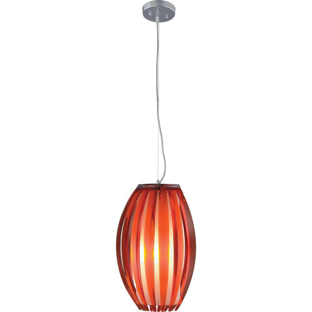 Volume Lighting 1 Light Brushed Nickel Red Acrylic Flower Bud Outer Shade Hanging Pendant White Cased Gl Cylinder Inner