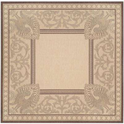 Courtyard Natural/Chocolate 7 ft. x 7 ft. Indoor/Outdoor Square Area Rug