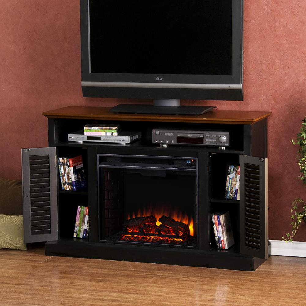 Ontario 48 in. W Media Electric Fireplace in Black with Walnut