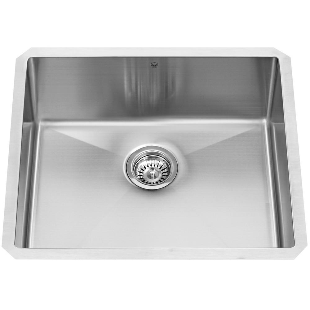 undermount stainless steel kitchen sink vigo undermount stainless steel 23 in single bowl kitchen 8738