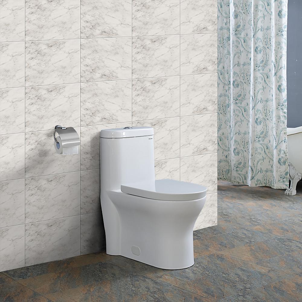 Monaco 1-Piece 0.8/1.28 GPF Dual Flush Elongated Toilet in White
