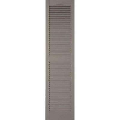 18 in. x 49 in. Lifetime Vinyl Custom Cathedral Top Center Mullion Open Louvered Shutters Pair Clay