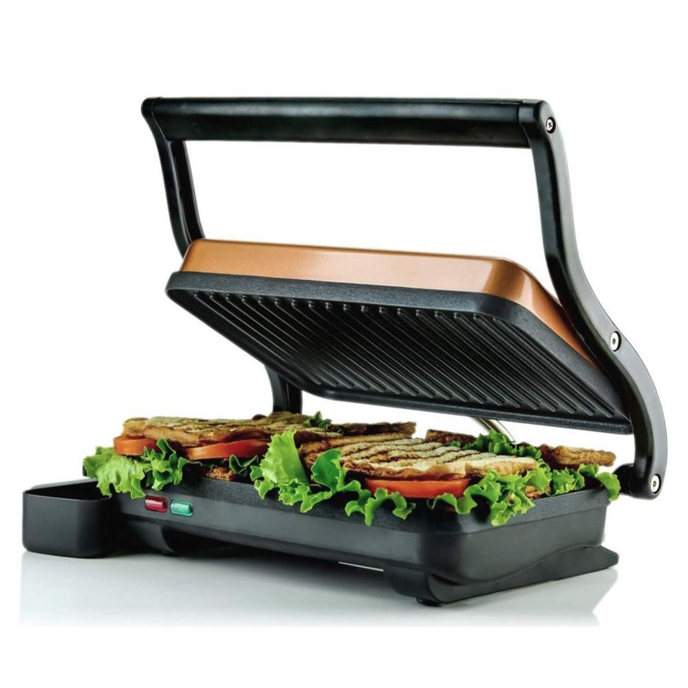 Copper Electric Panini Press Grill, 2-Slice 1000-Watt Heating Plate, Drip Tray Included