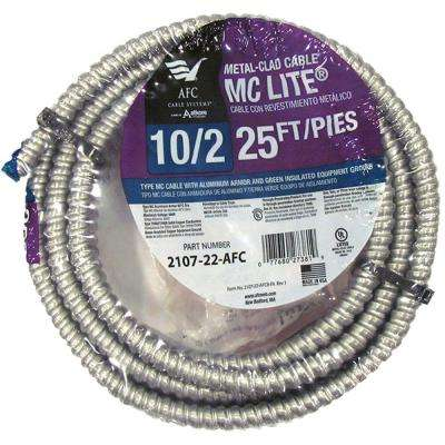 10/2 x 25 ft. Solid MC Lite Cable