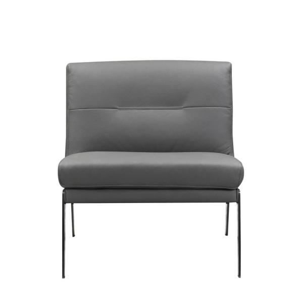 Charlie Dark Gray Leather Accent Chair