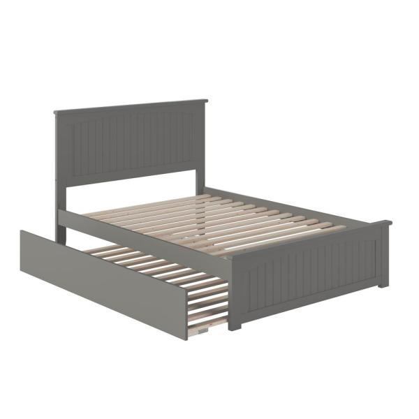 Nantucket Full Platform Bed with Matching Foot Board with Full Size Urban Trundle Bed in Grey
