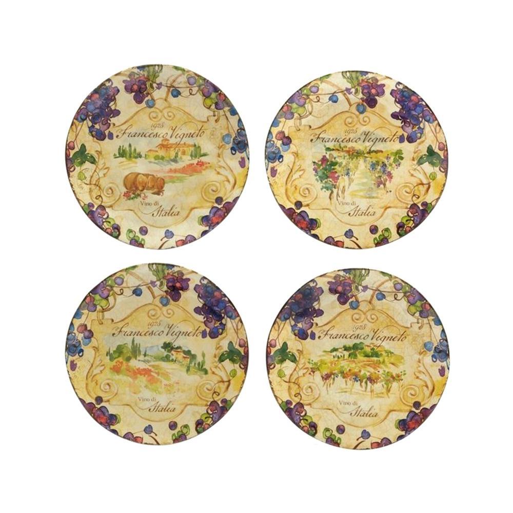 Vino 8.75 in. Multi-Colored Dessert Plate (Set of 4)