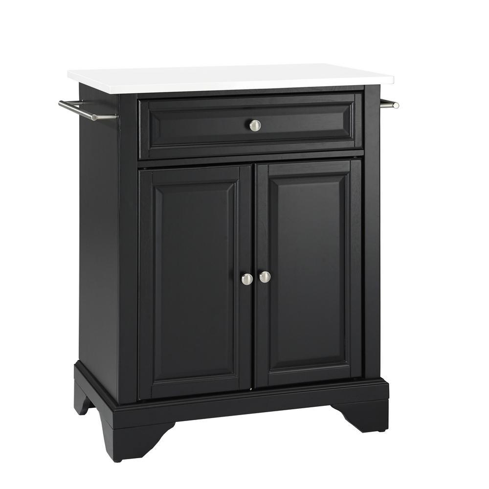 Lafayette Black With Granite Top Portable Kitchen Island